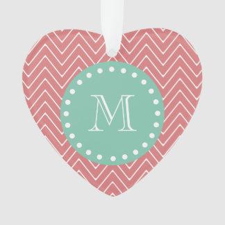 Peach Chevron Pattern | Mint Green Monogram Ornament