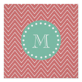 Peach Chevron Pattern | Mint Green Monogram Poster