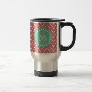 Peach Chevron Pattern | Mint Green Monogram Travel Mug