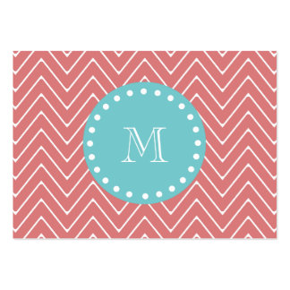 Peach Chevron Pattern | Teal Monogram Large Business Cards (Pack Of 100)