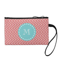 Peach Chevron Pattern | Teal Monogram Change Purse