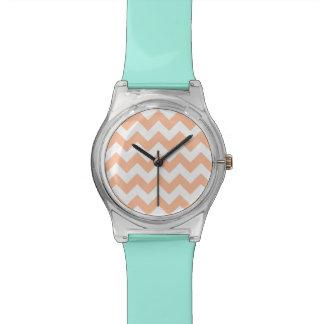 Peach Chevron Pattern Wristwatch