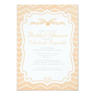 "Peach Chevron Stripes Bridal Shower Invitations 5"" X 7"" Invitation Card"