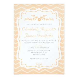 "Peach Chevron Stripes Wedding Invitations 5"" X 7"" Invitation Card"