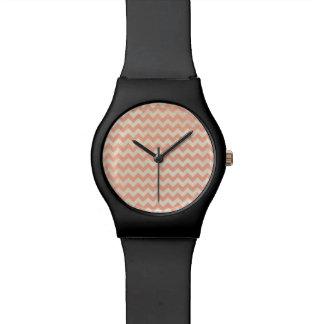 Peach Chevron Wrist Watches