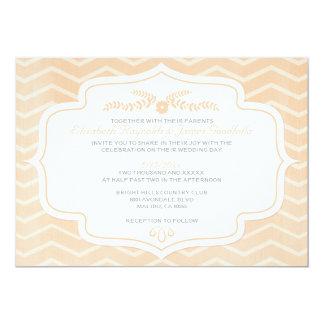 """Peach Chevron Wedding Invitations 5"""" X 7"""" Invitation Card"""