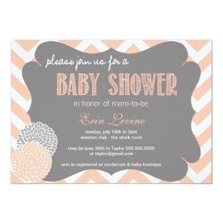 Peach Chic Chevron Baby Shower Invitation
