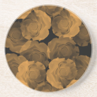 Peach chroma rose blooms shabby and chic drink coaster
