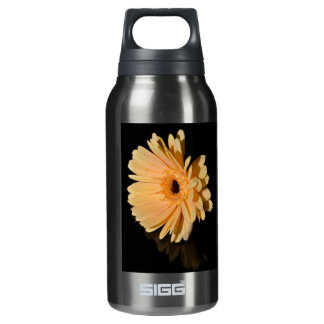 Peach chrysanthemum flower insulated water bottle