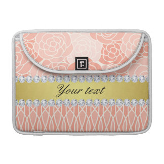 Peach Chrysanthemums Geometric Gold and Diamonds MacBook Pro Sleeve