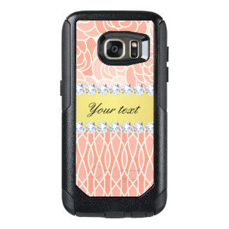 Peach Chrysanthemums Geometric Gold and Diamonds OtterBox Samsung Galaxy S7 Case
