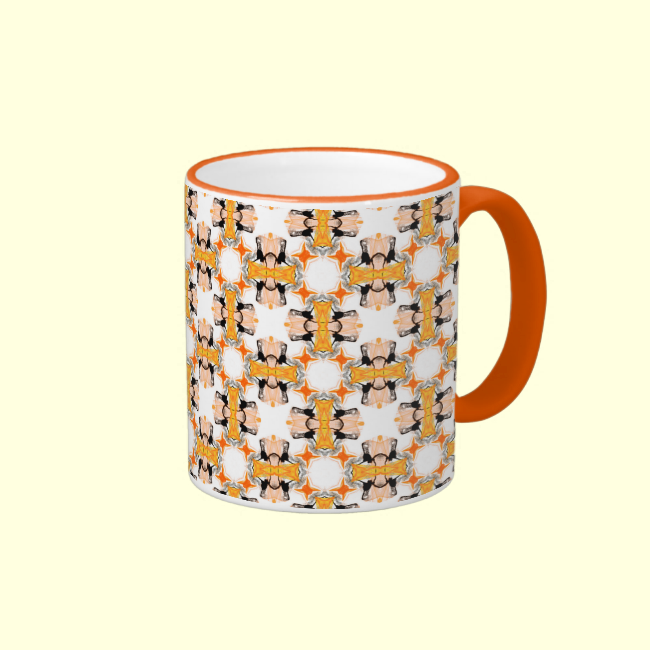 Peach Circles Orange Amber Modern Pattern Coffee Mugs