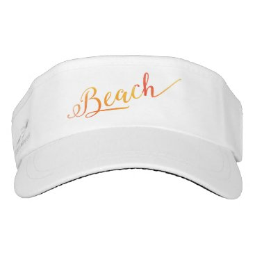 Beach Themed Peach Color Beach Stylized Swirl Font Visor