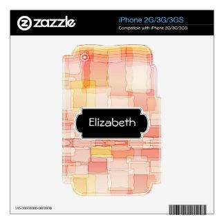 Peach Color Blocks Pattern Monogram Phone Skin iPhone 3GS Decals
