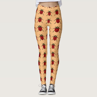 Peach color-&-Ladybugs Leggings
