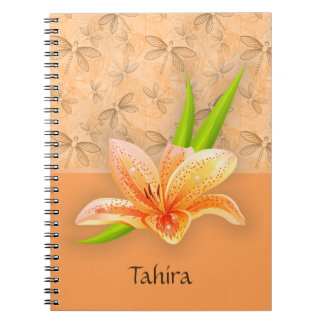 Peach Color Lilium and Nature Art in Peach Pattern Spiral Notebook