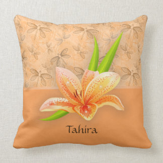 Peach Color Lilium and Nature Art in Peach Pattern Throw Pillow