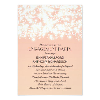 peach color string lights engagement party card