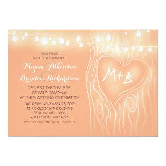 Peach color string lights tree romantic wedding card