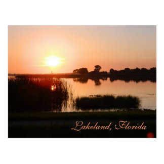 Peach color sunset in Lakeland Florida Post Card