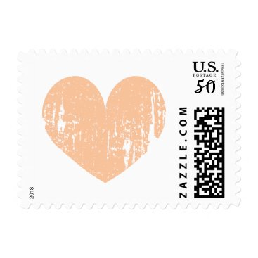 Beach Themed Peach color vintage heart wedding stamps