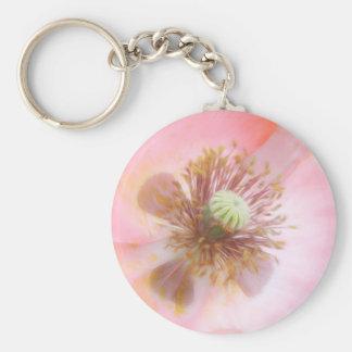 Peach Colored Annual Poppy Keychain