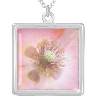 Peach Colored Annual Poppy Square Pendant Necklace