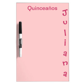 Peach-colored Dry Erase Board with Name and pen