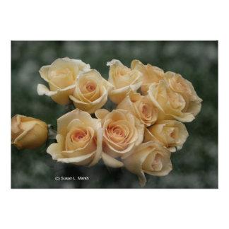 Peach colored rose bunch custom announcement