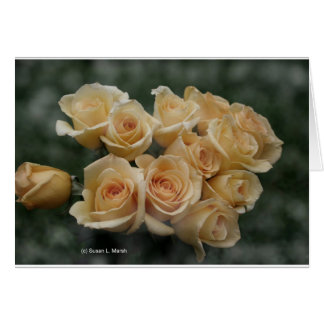 Peach colored rose bunch greeting card