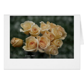 Peach colored rose bunch greeting cards