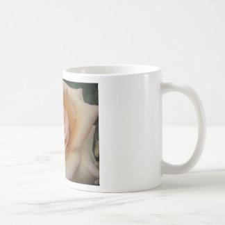 Peach colored rose classic white coffee mug