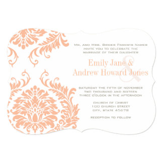 Peach Coral and Mushroom Damask Wedding Invitation