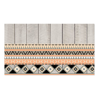 Peach Coral Andes Abstract Aztec Tribal Gray Wood Double-Sided Standard Business Cards (Pack Of 100)