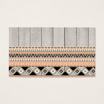 Aztec Themed Peach Coral Andes Abstract Aztec Tribal Gray Wood Business Card