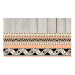 Peach Coral Andes Abstract Aztec Tribal Gray Wood Business Card Template