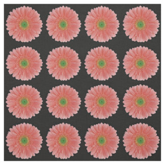 Peach Coral Gerbera Daisy Fabric