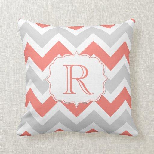 Peach Coral Gray White Chevron Pattern Monogram Pillows