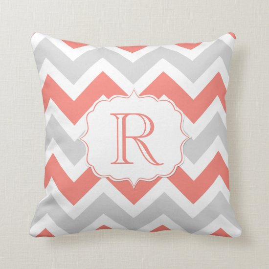 Peach Coral Gray White Chevron Pattern Monogram Throw Pillow