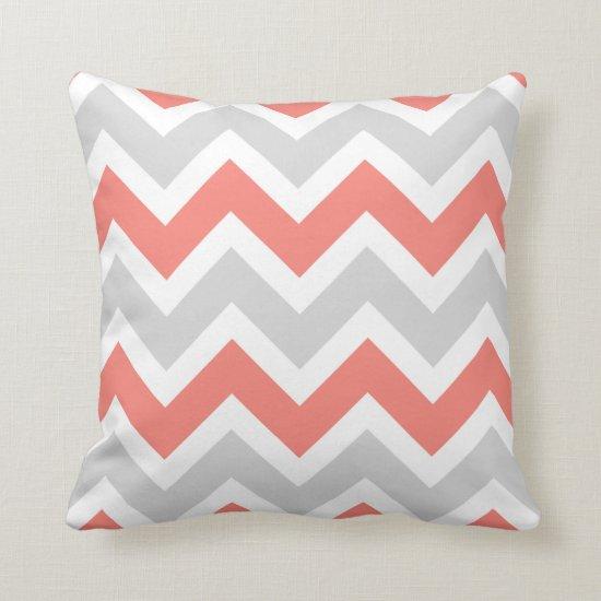 Peach Coral Gray White Chevron Zigzag Pattern Throw Pillow