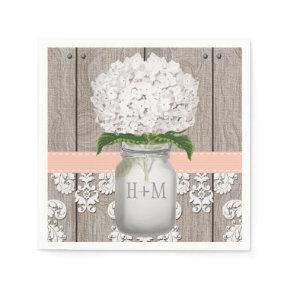 Peach Coral Monogrammed White Hydrangea Mason Jar Standard Cocktail Napkin
