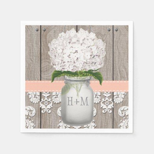 Peach Coral Monogrammed White Hydrangea Mason Jar Paper Napkin