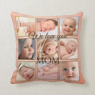 Peach Coral Painted Photo Collage Pillow
