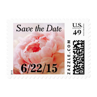 Peach Coral Peony Save The Date Postage Stamps