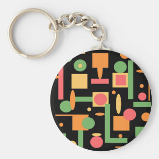 Peach Coral Sage Geometric Shapes Pattern Keychain
