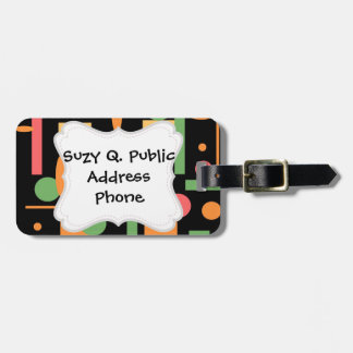 Peach Coral Sage Geometric Shapes Pattern Tag For Bags