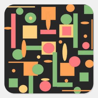Peach Coral Sage Geometric Shapes Pattern Square Sticker