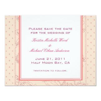 Peach/Coral Save the Date Card