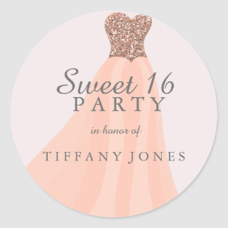 Peach Coral Sparkling Glitter Gown Sweet 16 Party Classic Round Sticker