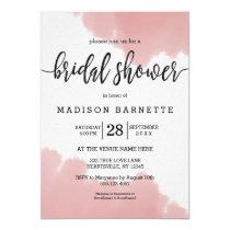 Peach Coral Watercolor Bridal Shower Invitation